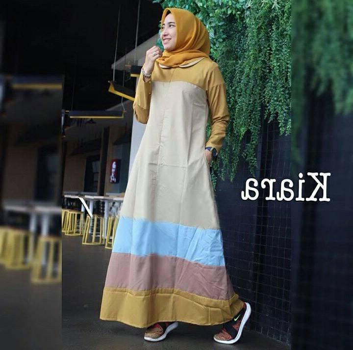 Design Baju Lebaran Cantik Irdz Baju Lebaran Terbaru Cantik Kiara Khaki Model Baju Gamis