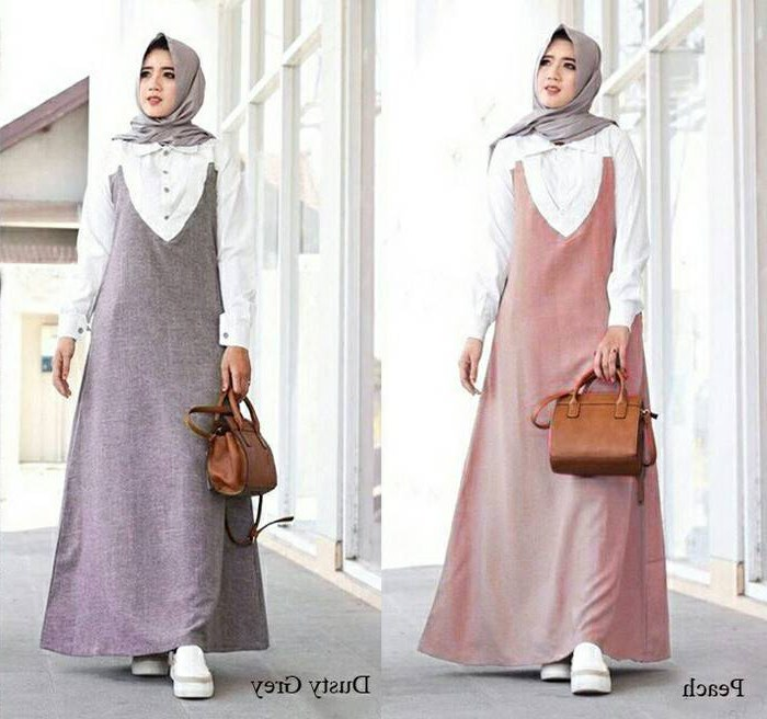 Design Baju Lebaran Simpel Ftd8 Model Gamis Terusan Katun Linen Remaja Modern Delois Dress