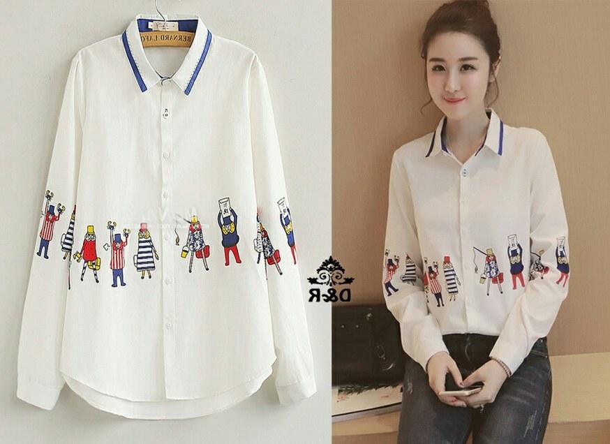 Design Model Baju Lebaran Warna Putih 4pde Baju Kemeja Wanita Terbaru Lengan Panjang Warna Putih