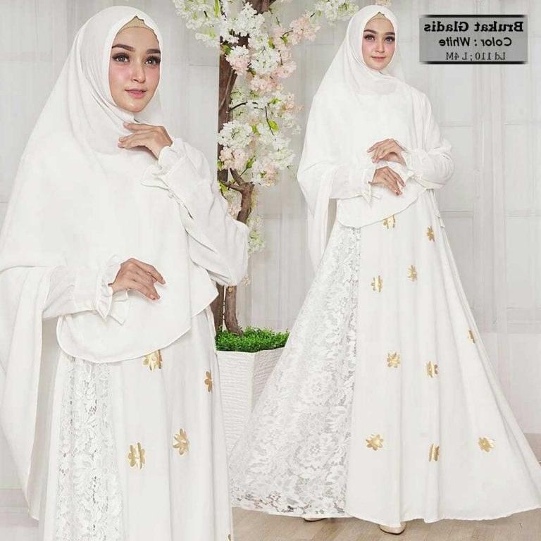 Design Model Baju Lebaran Warna Putih X8d1 Model Baju Gamis Brokat Warna Putih