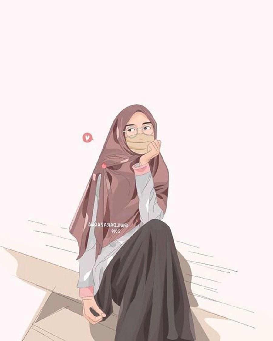 Design Muslimah Kartun Sedih Fmdf 1000 Gambar Kartun Muslimah Cantik Bercadar Kacamata El