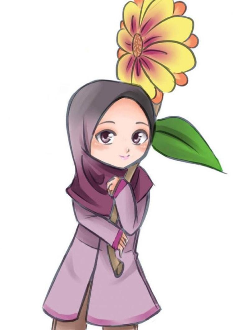 Design Muslimah Kartun Tqd3 300 Gambar Kartun Muslimah Bercadar Cantik Sedih Keren