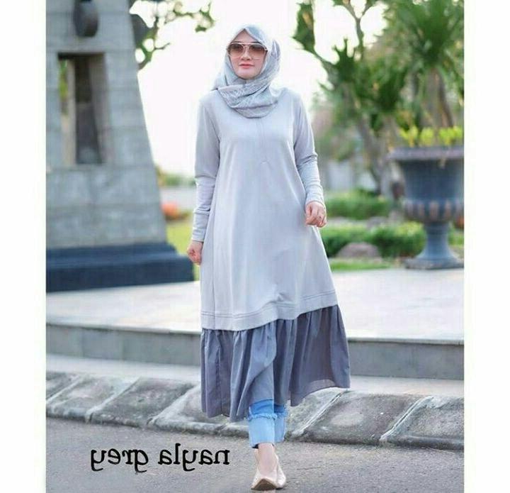 Design Poto Baju Lebaran 9fdy Long Tunik Lebaran 2018 Nayla Abu Model Baju Gamis Terbaru