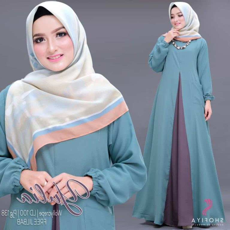 Design Warna Baju Lebaran 2019 S5d8 Baju Gamis Polos 2 Warna Terbaru 2019 Cantik Yulia ori