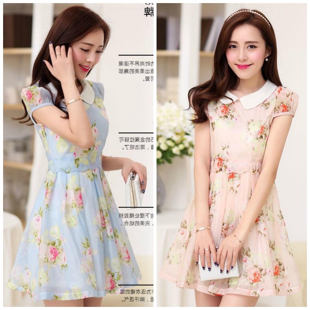 Ide Baju Lebaran Ala Korea 9ddf Motif Baju Bunga Pada Dress Korea Online Terbaru