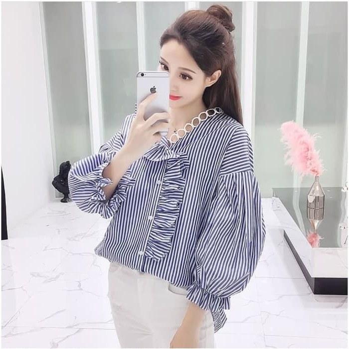Ide Baju Lebaran Ala Korea U3dh Model Baju atasan Wanita Belang Terbaru Ala Korea
