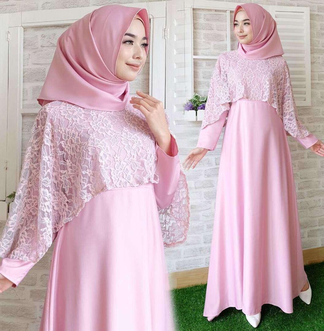 Ide Baju Lebaran Brokat Tldn Baju Gamis Lebaran Brokat Terbaru New Olivia soft Pink