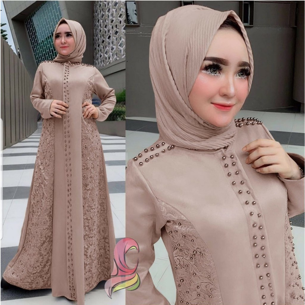 Ide Baju Lebaran Brokat Y7du Gamis Trendy Saukiah Katalog Bajugamismu