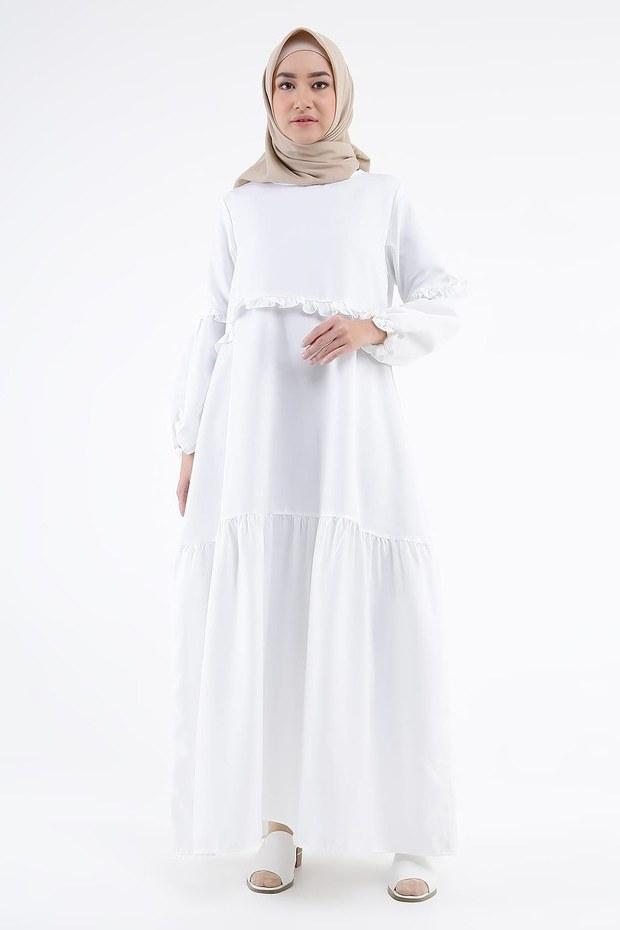 Ide Baju Lebaran Bumil U3dh Cari Baju Baru Ini 5 Gamis Dan Dress Putih Untuk Dipakai