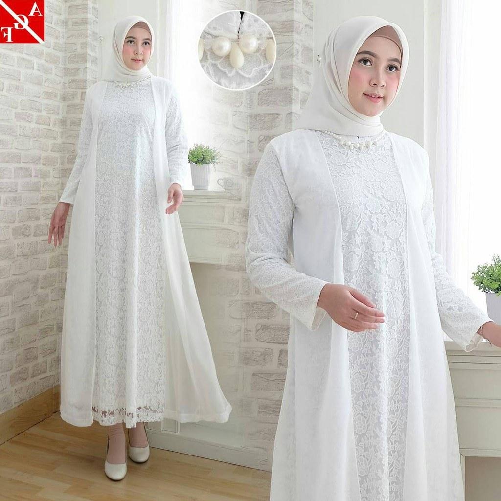 Ide Baju Lebaran Di Shopee 3ldq Sale Baju Gamis Wanita Brukat Gamis Putih Lebaran
