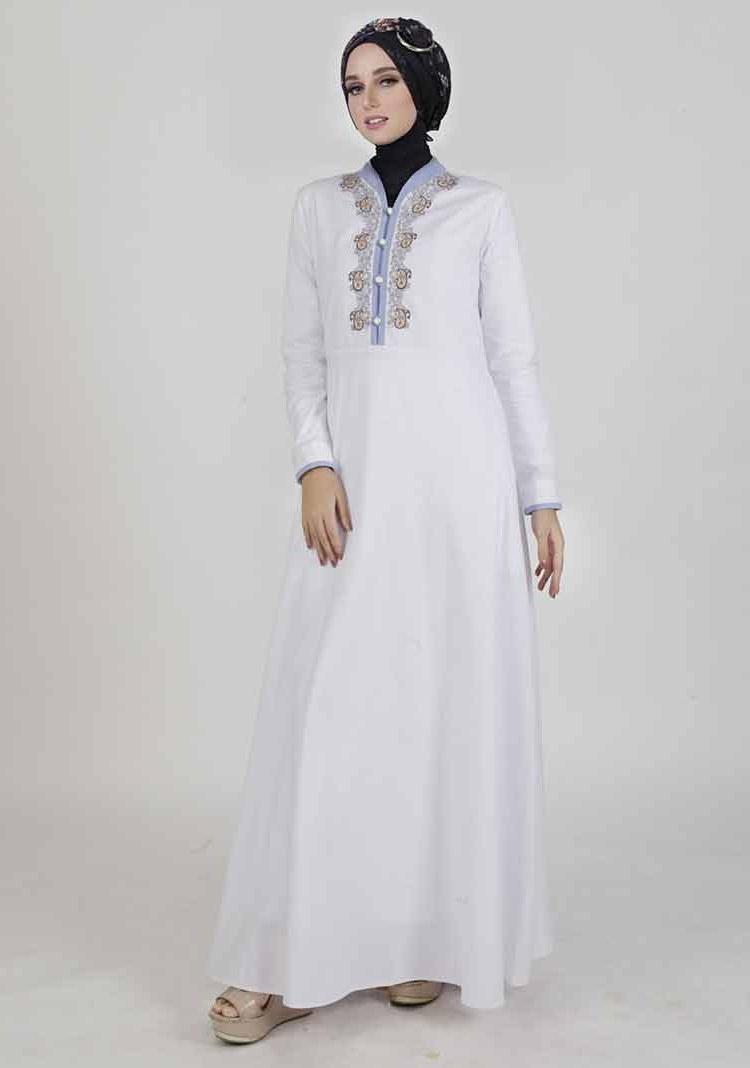 Ide Baju Lebaran Syahrini U3dh 30 Model Gamis Putih Mewah Modern Elegan Brokat