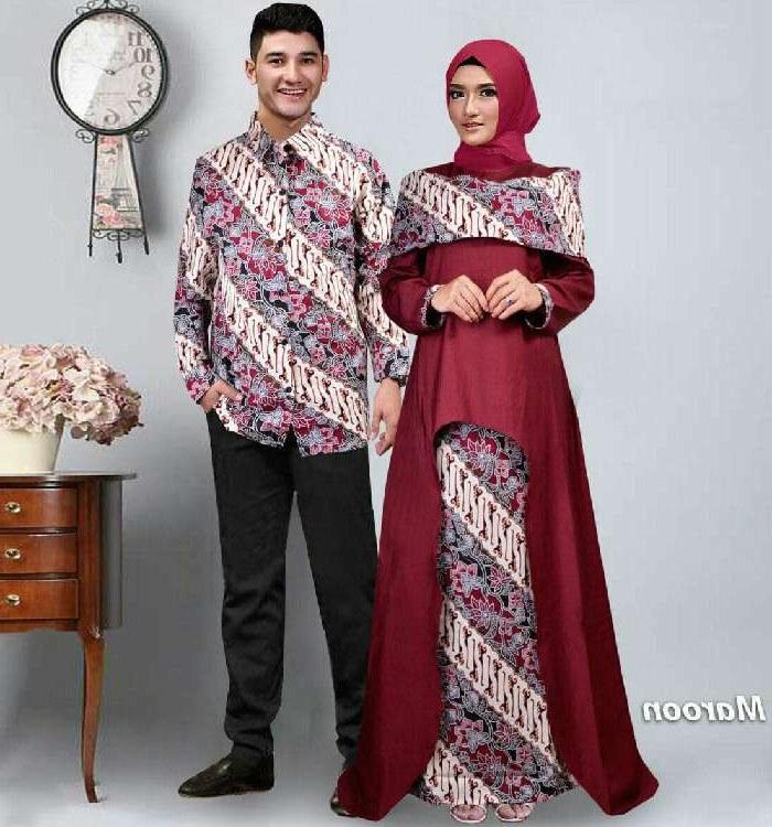 Ide Koleksi Baju Lebaran 2018 Fmdf Baju Lebaran Terbaru 2018 Couple Batik Sabna Marun Model