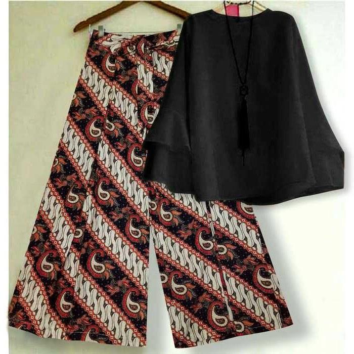 Ide Model Baju Lebaran Batik 2018 8ydm Baju Lebaran 2018 Kulot Batik Hitam Mg Model Baju Gamis