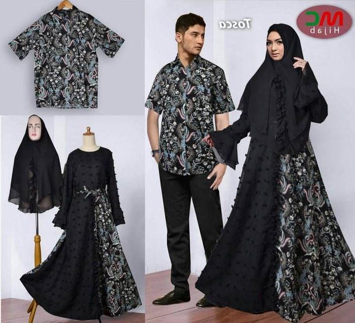 Ide Model Baju Lebaran Batik 2018 O2d5 Baju Lebaran 2018 Couple Batik Muslimah Hitam Model Baju