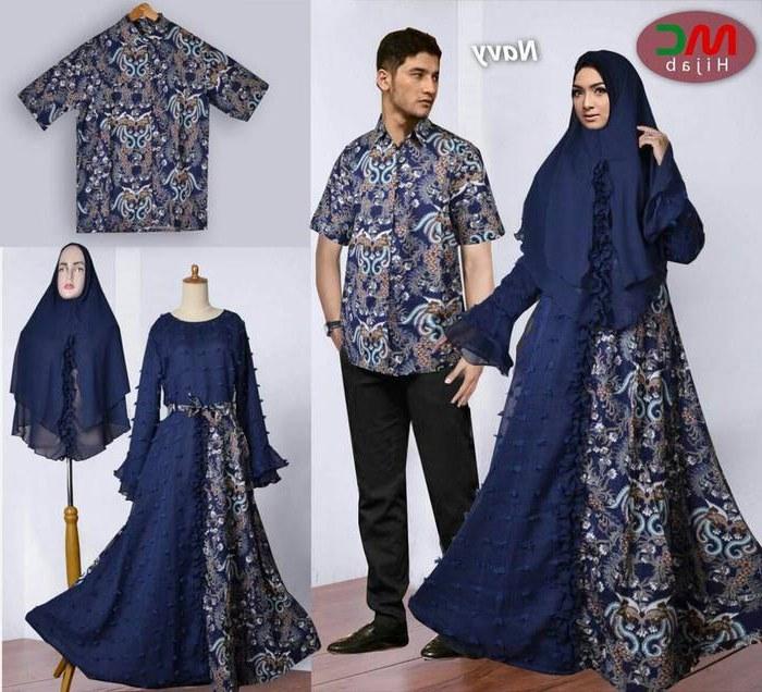 Ide Model Baju Lebaran Batik 2018 Tldn Baju Lebaran 2018 Couple Batik Muslimah Navy Model Baju