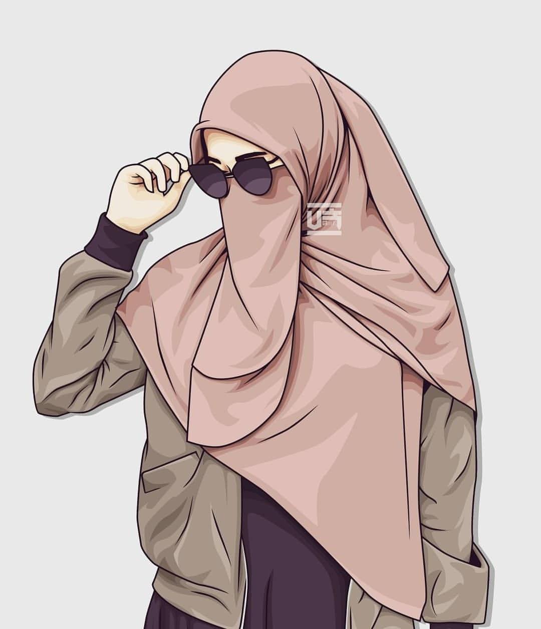 Ide Muslimah Bercadar Keren O2d5 1000 Gambar Kartun Muslimah Cantik Bercadar Kacamata El