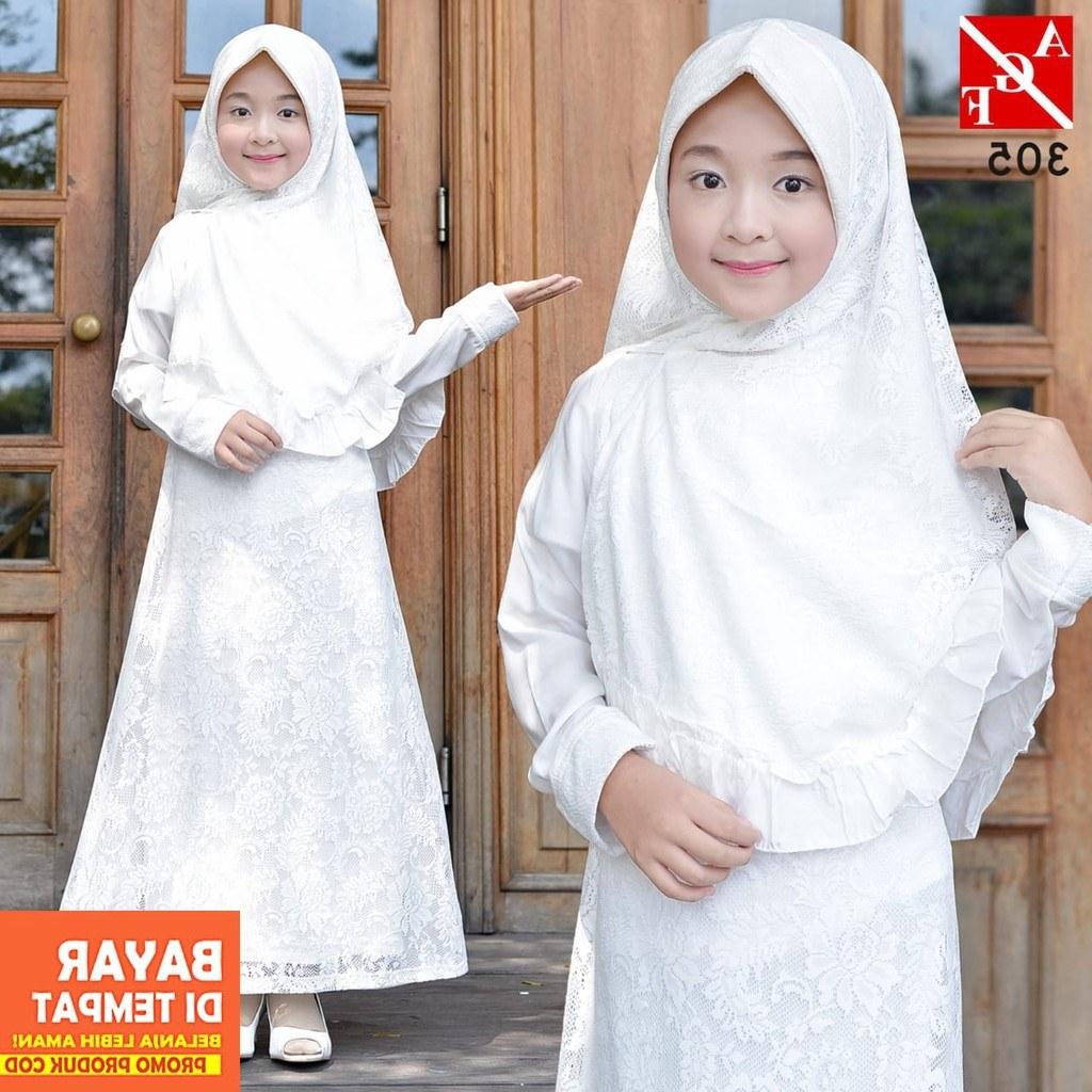 Inspirasi Baju Lebaran Anak Perempuan 2019 0gdr Agnes Gamis Putih Anak Perempuan Baju Muslim Baju Umroh
