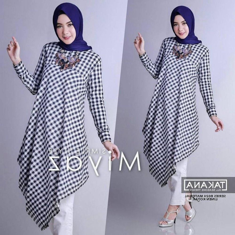 Inspirasi Baju Lebaran atasan Tqd3 Jual Tunik Tartan Kotak Kotak Motif Baju Hijab Panjang