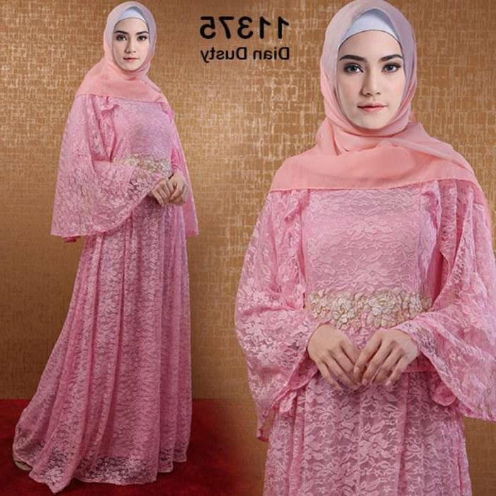 Inspirasi Baju Lebaran Brokat 2018 Qwdq Model Gamis Lebaran 2018 Brokat Dian Dusty Pink Model