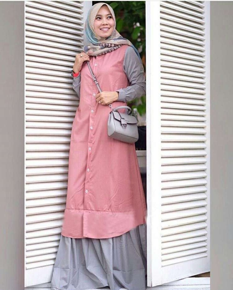 Inspirasi Baju Lebaran Ibu 2018 8ydm Trend Baju Lebaran Terbaru 2018 Davina Pink Abu Model