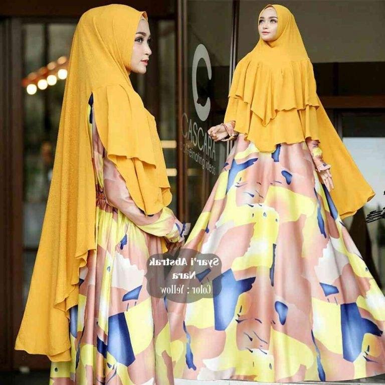Inspirasi Baju Lebaran Kekinian 2018 3id6 Gamis Lebaran Kekinian 2018 Nara Kuning Model Baju Gamis