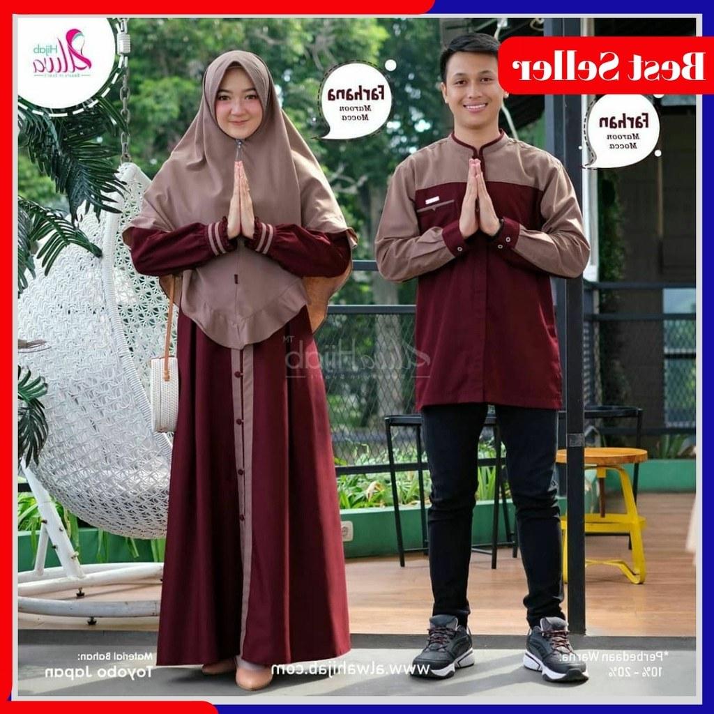 Inspirasi Baju Lebaran Pasangan Suami istri Rldj [cod] Baju Couple Muslim Set Gamis Koko Pasangan Suami
