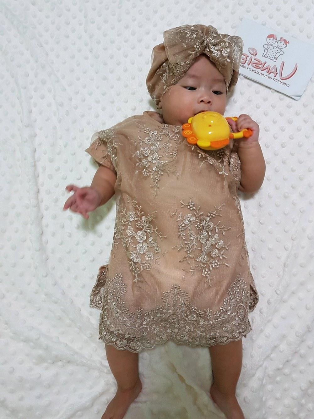 Inspirasi Baju Lebaran Untuk Bayi Perempuan Tqd3 Jual Baju Muslim Lebaran Bayi Anak Kaftan Set Turban