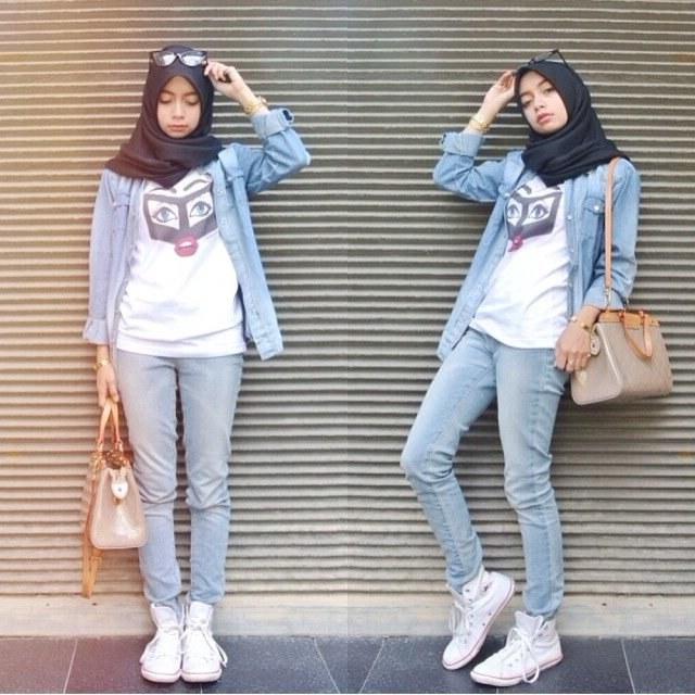 Inspirasi Baju Lebaran Yang Lagi Ngetren Etdg 7 Gaya Hijab Buatmu Yang Nyaman Ber Jeans Dan Kemeja Biar