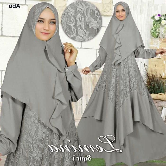 Model Baju Lebaran Brokat 2019 9ddf Baju Gamis Lebaran Brokat Kekinian 2019 Lemina Abu Abu