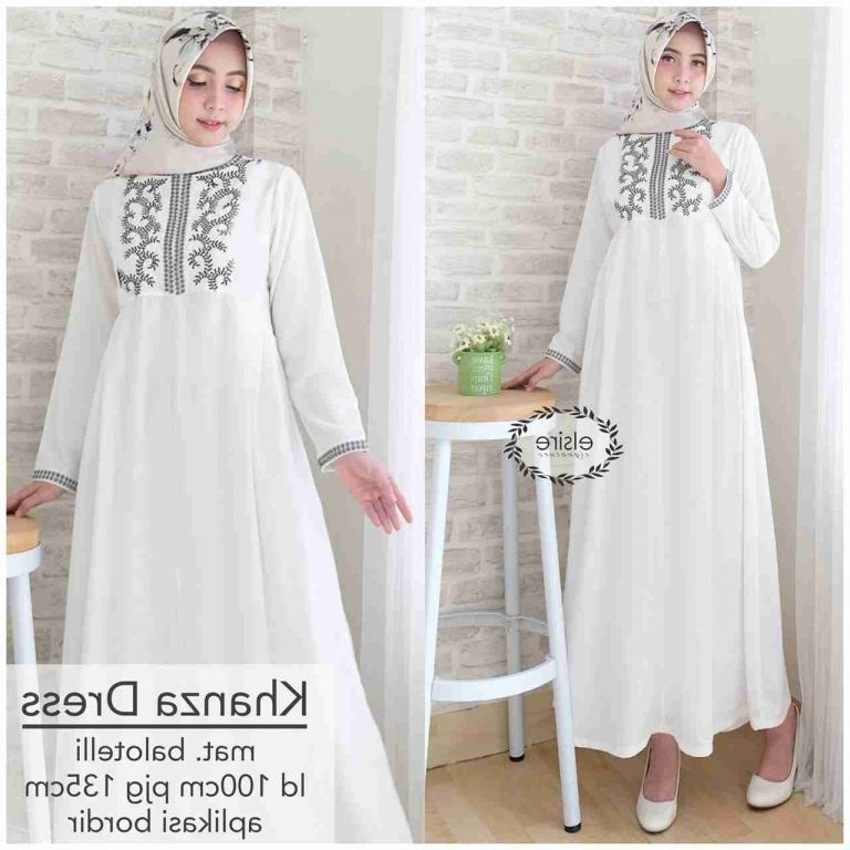 Model Baju Lebaran Putih 3id6 Gamis Putih Bordir Khanza Hitam