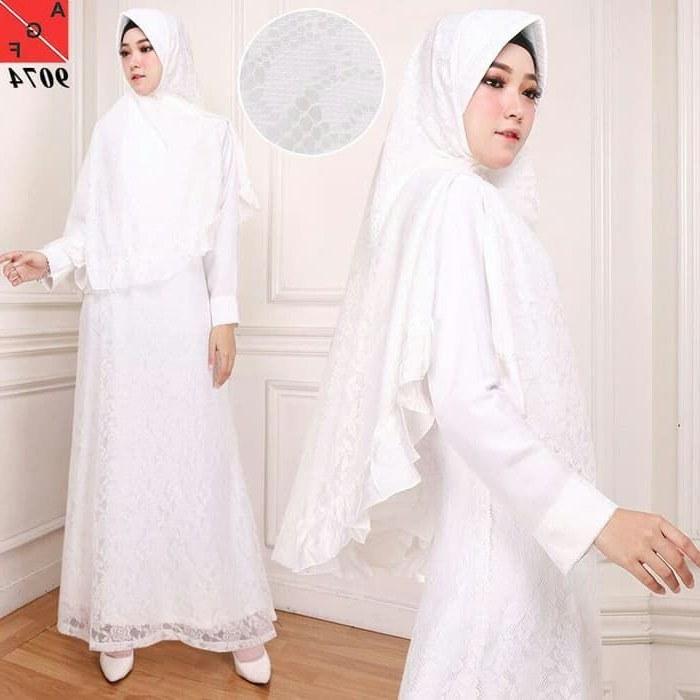 Model Baju Lebaran Putih Q0d4 Trend Gamis Lebaran Putih Brokat Af9074