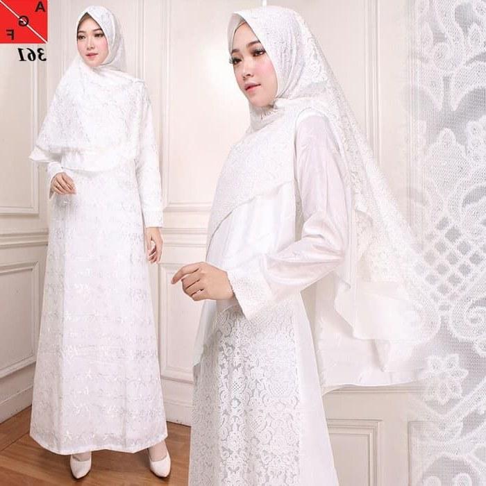 Model Baju Lebaran Putih T8dj Gamis Lebaran Putih Brokat Af361 Model Baju Gamis Terbaru