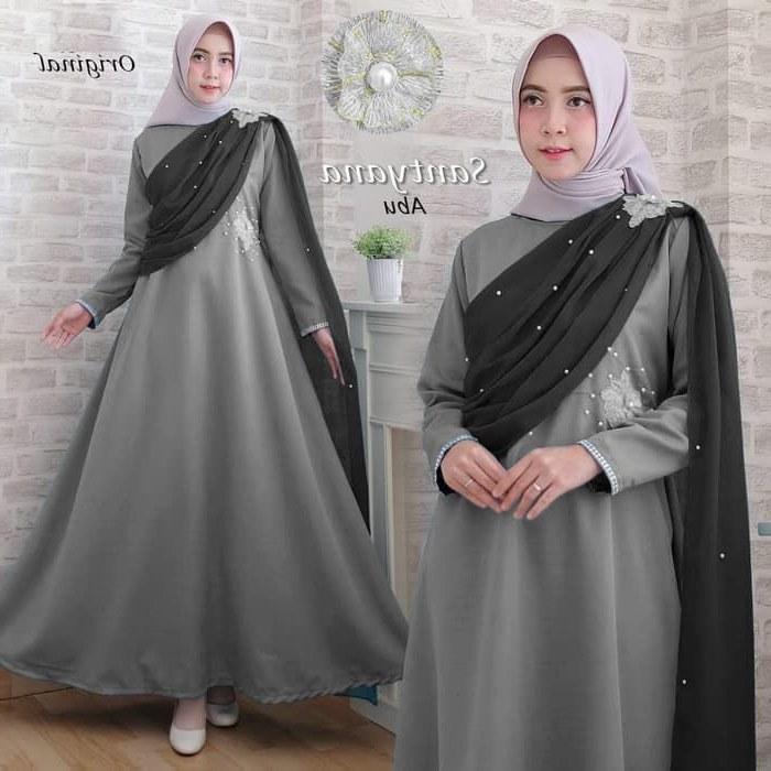 Model Baju Lebaran Remaja Terbaru 2020 Bqdd Gamis Pesta Terbaru 2019 Santyana Abu Abu Gamissyari