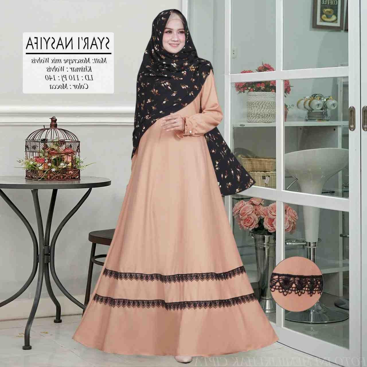 Model Baju Lebaran Syari 2019 3ldq Gamis Syari Lebaran 2019 Nasyifa Gamissyari