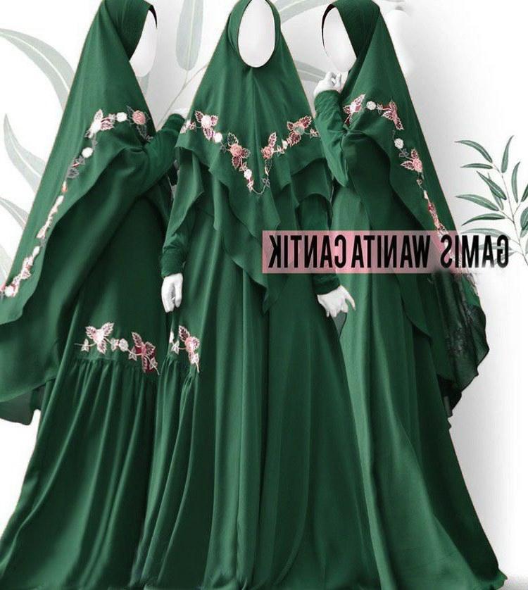 Model Baju Lebaran Syari 2019 Gdd0 Baju Gamis Syari Lebaran 2019 Shanum Hijau Tua