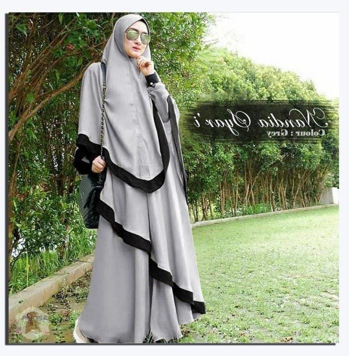 Model Baju Lebaran Syari 2019 Tqd3 Gamis Syar I Terbaru Modern Nandia Katalog Bajugamismu