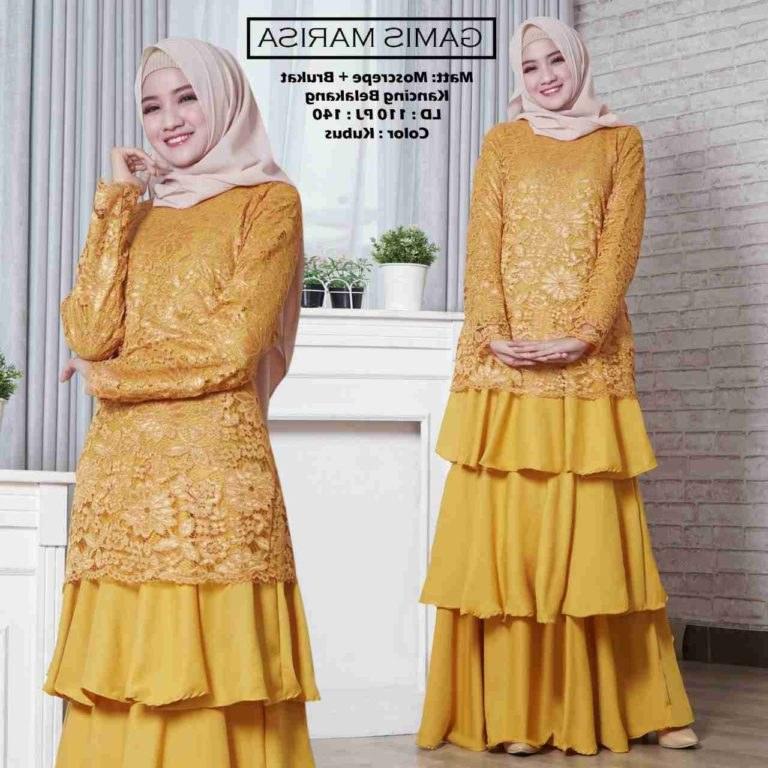 Model Baju Lebaran Terbaru 2019 Wanita E6d5 Gamis Lebaran Modern 2019 Marisa Gamissyari