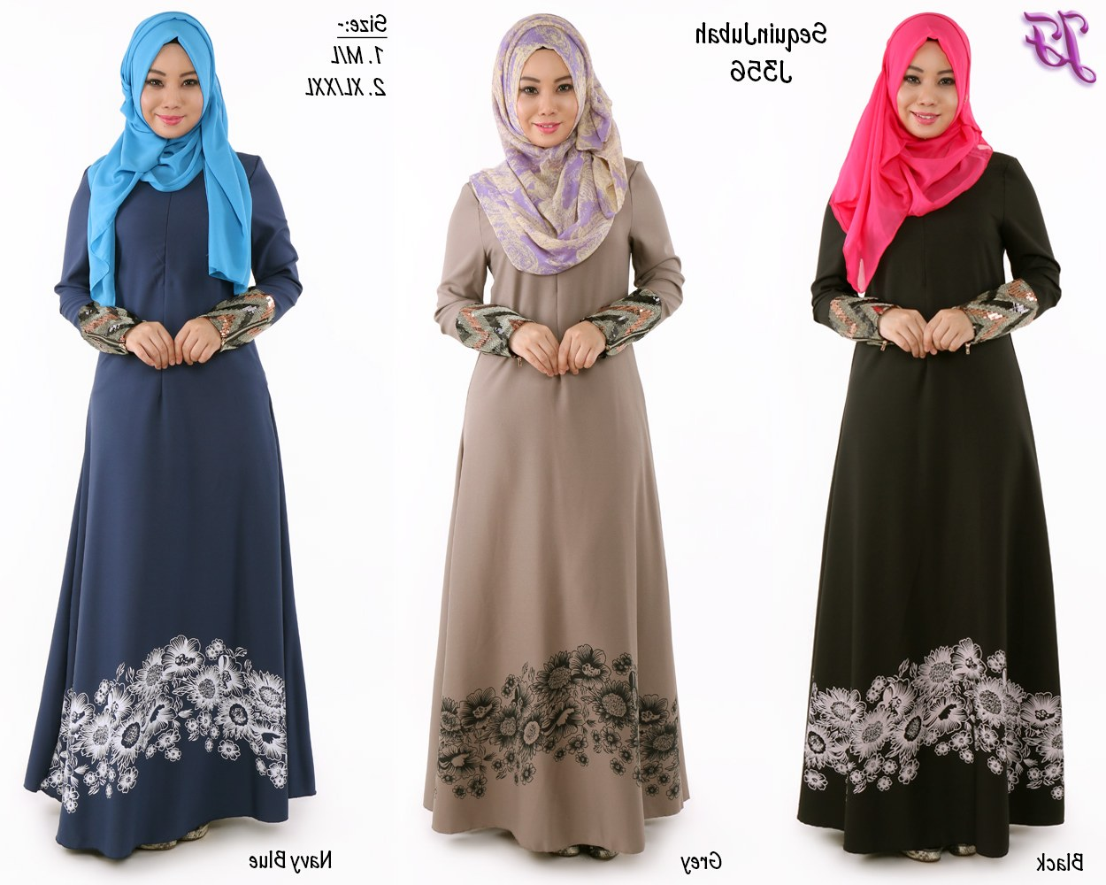 Model Fashion Muslimah Terkini Tqd3 New Abiyyah Sequin Jubah J355 and Amani Sequin Jubah J356