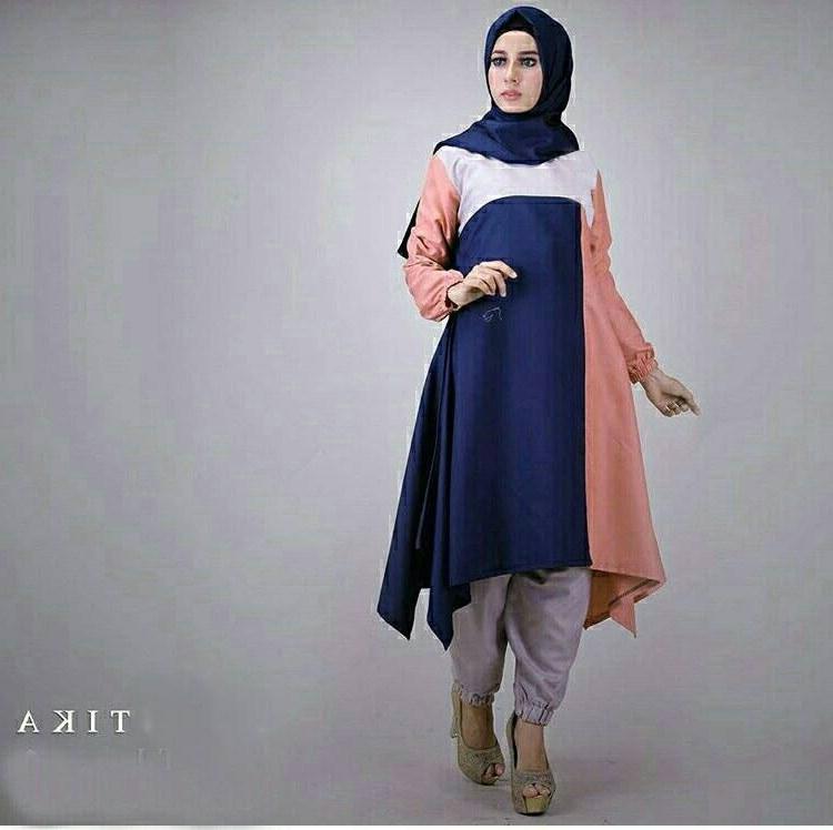 Model Model Baju Lebaran Kekinian Mndw Model Baju Muslim Kekinian Tika Warna Navy