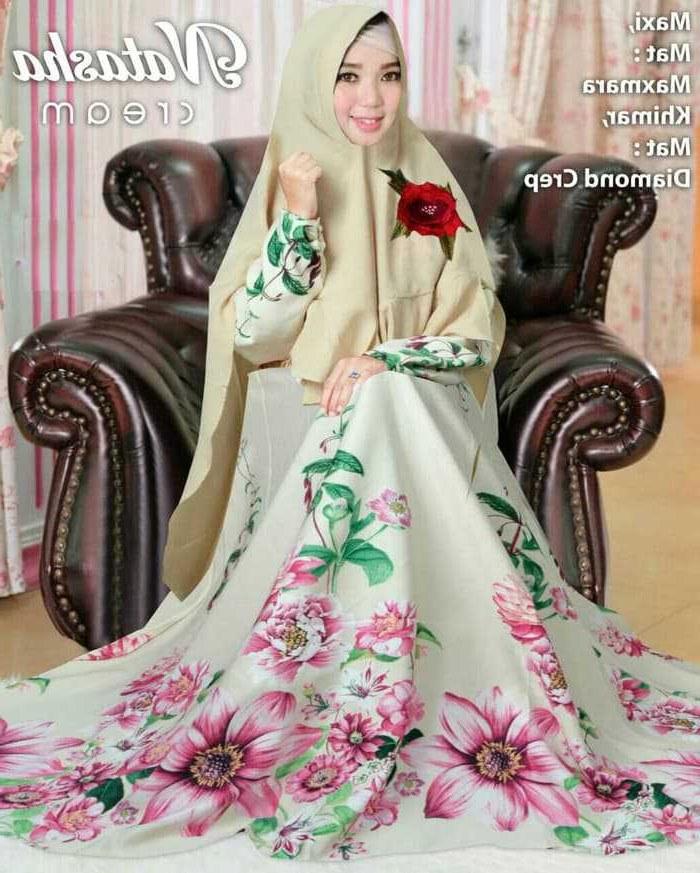 Model Motif Baju Lebaran Zwd9 Trend Baju Lebaran Syari Motif Bunga Natasha Cream Model