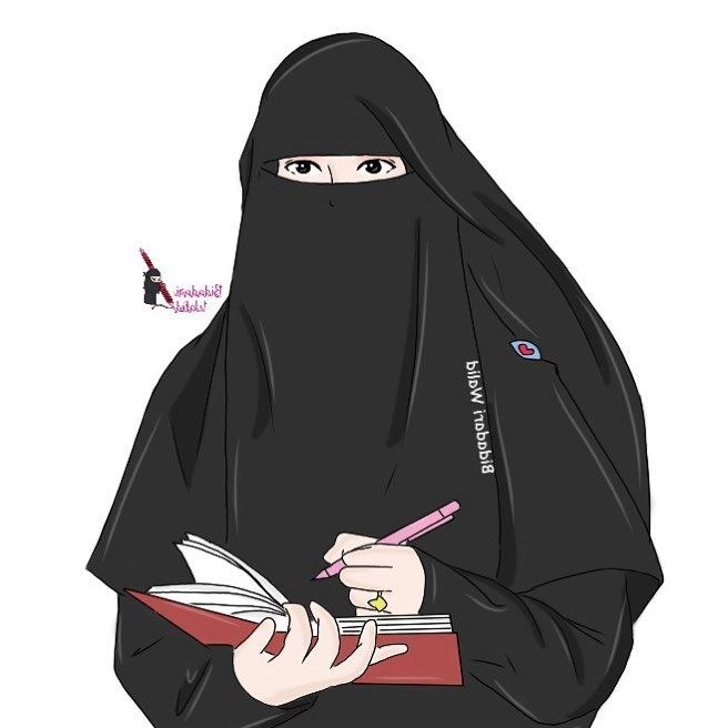 Model Muslimah Bercadar Animasi O2d5 Gambar Kartun Muslimah Bercadar Seorang Penulis