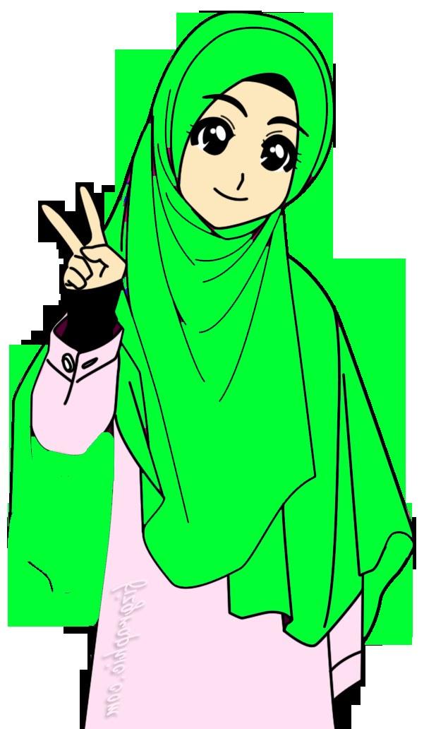 Model Muslimah Kartun Png S5d8 Doodle Muslimah Tudung Labuh Green