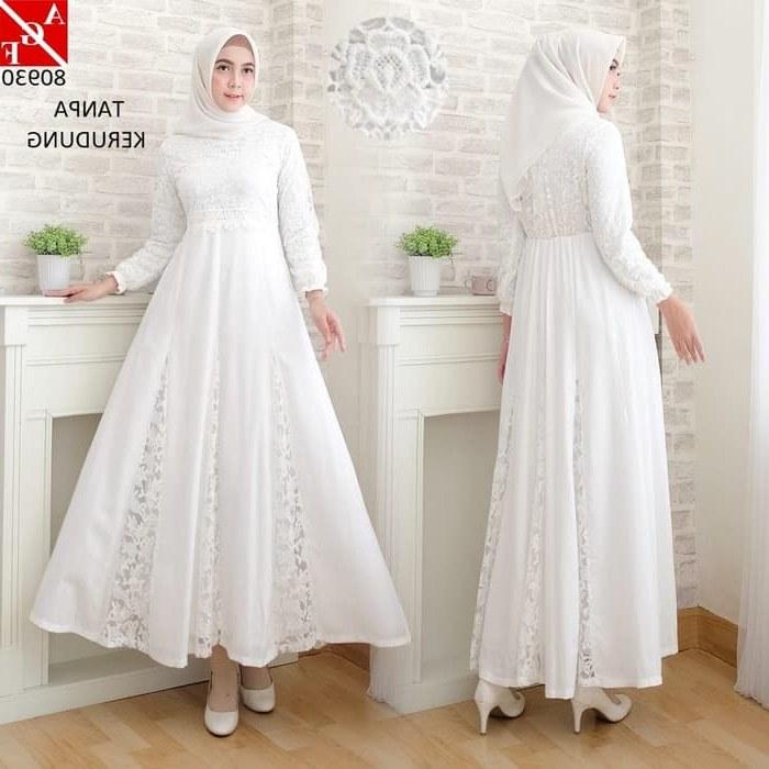 Model Sewa Baju Lebaran E9dx Jual Baju Gamis Putih Wanita Brukat Syari Putih Lebaran