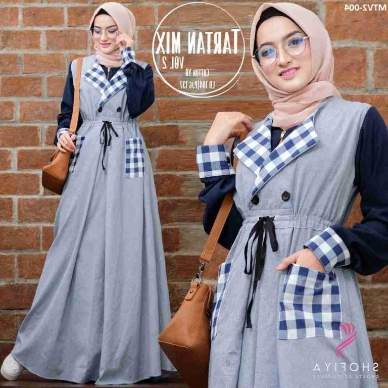 Model Trend Baju Lebaran Wanita 2019 9ddf Trend Gamis Remaja Terbaru 2019 Tartan 2 Navy